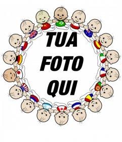 Foto cornice con bordo di bambini di tutte le nazionalità con le loro bandiere.