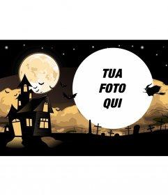 Halloween collage con una casa e un cimitero