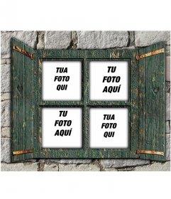 Collage di mettere quattro immagini su una finestra in legno verde su un muro di pietra e di creare fotomontaggi online.