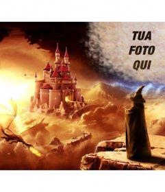 Creare un collage online in un mondo di fantasia con un mago guardando un castello e un drago