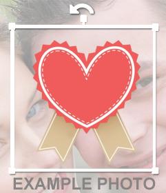 Sticker di un cuore semplice con finiture e il bordo punteggiato