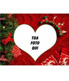 Collage con la tua foto a forma di cuore con uno sfondo di Natale