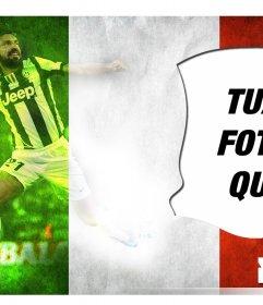 Creare questo fotomontaggio con Andrea Pirlo giocatore della nazionale italiana