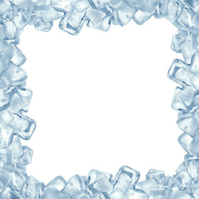 Photo frame fatta di cubetti di ghiaccio