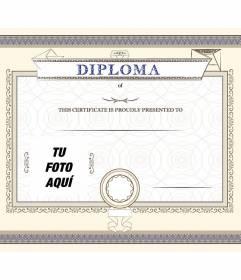 Diploma personalizzabile di una conquista, orgogliosamente presentato alla persona che si desidera in cui è possibile inserire una foto e testo