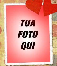 Carta di amore con la tua foto, tono rosso e due cuori