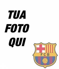 Fotomontaggio di mettere lo scudo di FC Barcelona nella foto
