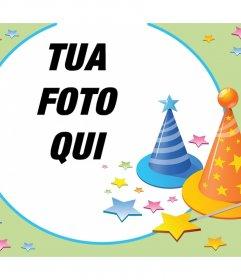 Fotomontaggio con parti cappelli e molte stelle per festeggiare