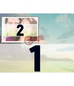 Collage di due immagini con uno sfondo di foto e un piccolo come un francobollo, sovrapposto.