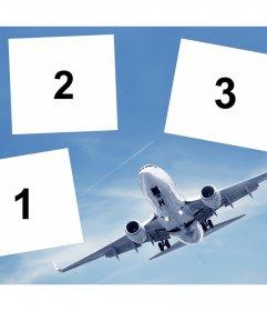 Collage gratis per tre foto con un aereo ideale per i viaggiatori