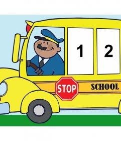 Foto collage di tre foto di un bus della scuola