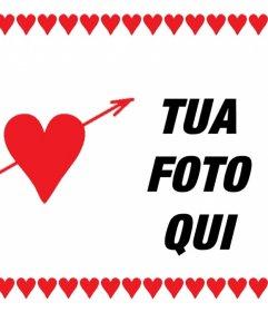 Carta di amore con il cuore in cui è possibile aggiungere una cornice foto