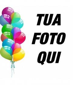 Cartolina modificabile per festeggiare con palloncini e caricare la tua foto