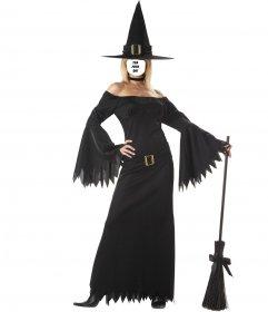 Fotomontaggio di donna con il costume strega sexy
