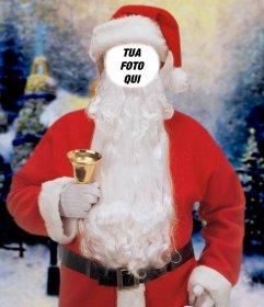 Fotomontaggio online di Babbo Natale con una campana per mettere la vostra faccia
