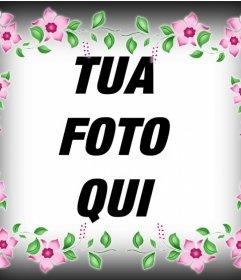Effetto Foto di un telaio con fiori rosa per decorare la tua foto