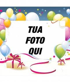 Effetto Foto per il compleanno con palloncini e dono