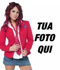 Fotomontaggio con Dulce Maria Rebelde in uniforme