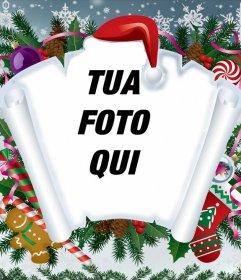 Fotomontaggio di Natale con pergamena e altri articoli natalizi