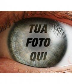 Creare un fotomontaggio con un occhio e una immagine sovrapposta liride e la pupilla come riflettendo