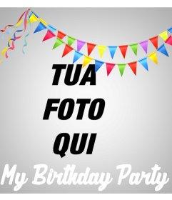 Effetto on-line per caricare la tua foto e celebrare la vostra festa di compleanno