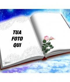 Fotomontaggio di mettere la tua foto in un libro con due rose