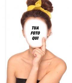 Fotomontaggio di cambiare il vostro stile e indossare i capelli castani raccolti sulla nuca con un nastro giallo su un arco.