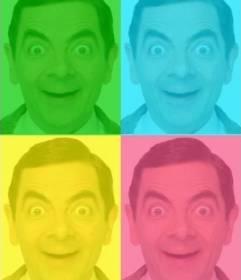 Pop Art box personalizzato con la tua foto, verde, blu, giallo e rosa. Carica una foto, ritagliata e poi applicare il filtro che usano questa pagina come un editor di foto gratis