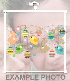 Sticker di una corona di Pasqua per decorare la vostra foto