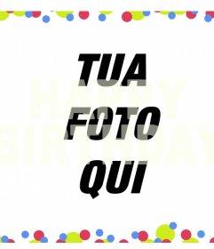 Filtro colorato con la frase HAPPY BIRTHDAY sopra le vostre foto online effetto Photo