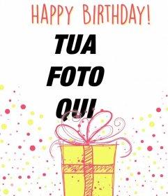 fotomontaggio illustrativo per festeggiare un felice compleanno con un regalo decorativo