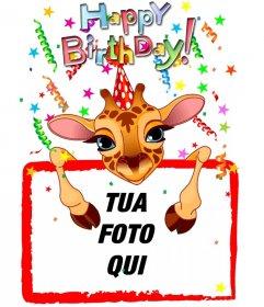 Biglietto di auguri personalizzabile con un compleanno giraffa