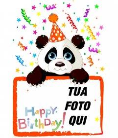 Auguri di compleanno cartolina con un panda