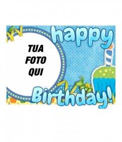 Buon compleanno cartolina che comprende una struttura circolare dove mettere l'immagine desiderata in modo semplice e gratuito. Vi augura un felice compleanno con questa scheda blu personalizzato.