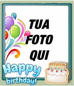 Carta di compleanno libero personalizzabile con una foto