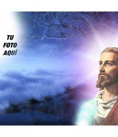Foto collage con Gesù Cristo in cui è possibile mettere la tua foto