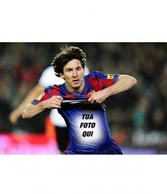 Fotomontaggio di mettere la tua foto sulla maglietta di Leo Messi