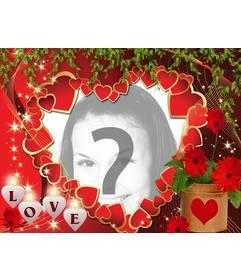 Amore cartolina con molti cuori e il testo AMORE
