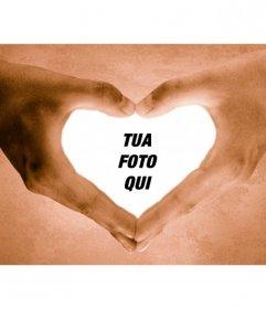 Photo frame mani la forma di un cuore