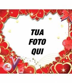 Photo frame fatta con i cuori rossi e le lettere LOVE  di mettere una foto