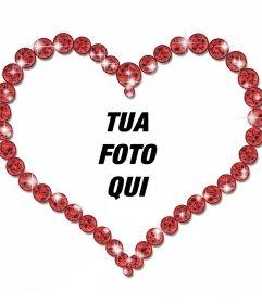 Photo Frame online di un a forma di cuore e brillanti diamanti