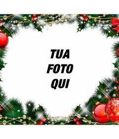 Photo frame con una ghirlanda di Natale