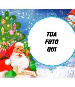 Cornice per foto con Babbo Natale carico di doni in un sacco