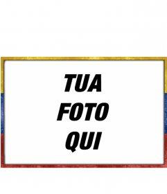 Cornice con la bandiera del Venezuela con uno stile grunge età logora con cui è possibile personalizzare le vostre immagini