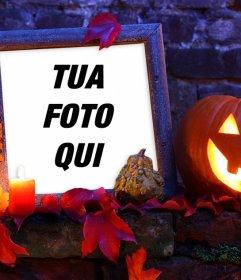 Halloween cornice con una zucca per la vostra foto