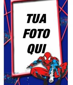 I bambini cornice con Spiderman rosso e blu in una ragnatela
