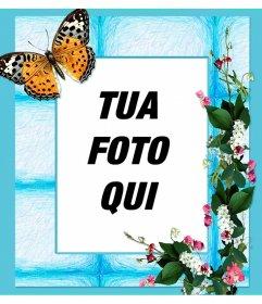 Inquadrare il foto con fiori e farfalle su sfondo blu