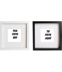 Creare collage online con 2 cornici per foto quadrati bianchi e neri per mettere le immagini e aggiungere testo