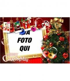 Bella Cartolina di Natale con addobbi natalizi, regali, le immagini di Babbo Natale e regali. Smettere di cartoline di Natale con la tua foto