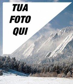 Cartolina di un paesaggio innevato di Denver con la tua foto